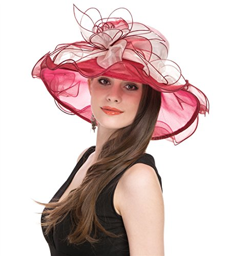 Saferin Wide Brim Cap Wedding Dress Tea Party Bridal Lady Women Church Two Tone Derby Hat With Flower Red and Pink Free size