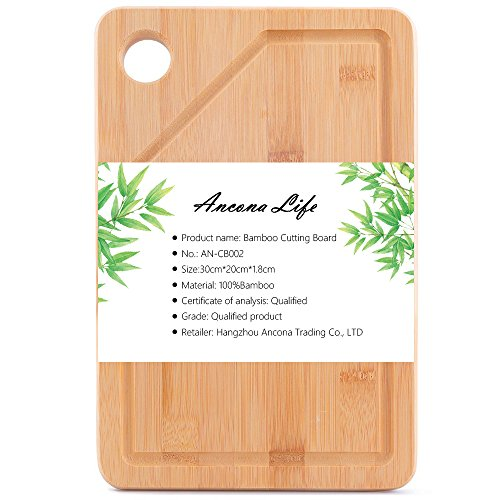 Ancona life Extra Large Bamboo Cutting Board - Thick Strong Bamboo Wood Cutting Board with Drip Groove by Premium Bamboo(11.8x7.9 -Inch) (11 Piece Deluxe Block)