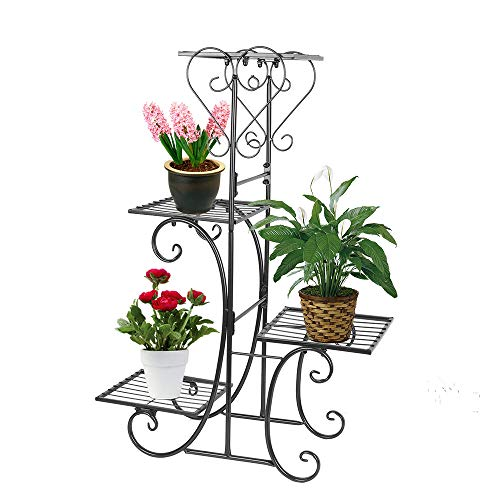 (Moutik Corner Metal Flower Holder Racks 4 Tier Shelves for Indoor Outdoor Plant Flower Stand Rack Shelf for Multiple Plants,Black)