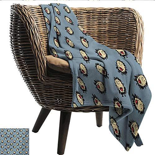 (EwaskyOnline Hedgehog Couch Blanket Hand Drawn Style Thorny Mammal Mascots Holding Jar of Jam Playful Childhood Theme Sofa Warm Bed 51