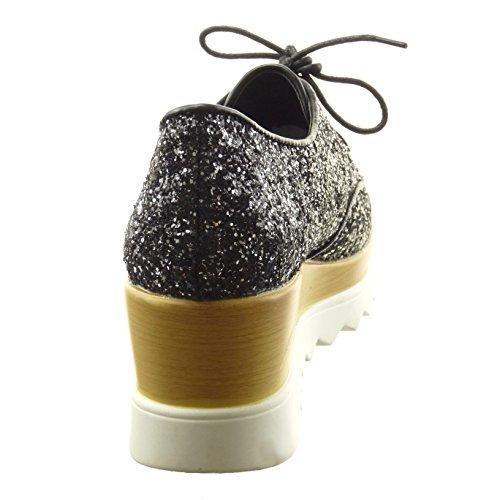 Sopily - Zapatillas de Moda zapato derby zapatillas de plataforma Tobillo mujer brillantes brillante Talón Plataforma 5.5 CM - Negro