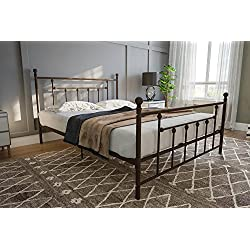 DHP Manila Metal Bed with Victorian Style Headboard and Footboard, Includes Metal Slats, Queen Size, Bronze