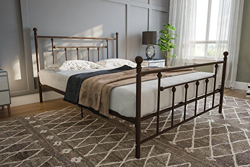 Bronze Queen Size Bed - DHP Manila Metal Bed with Victorian Style Headboard and Footboard, Includes Metal Slats, Queen Size, Bronze
