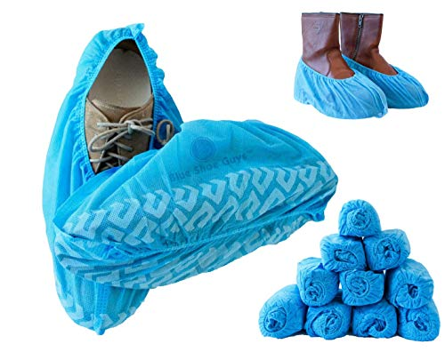 Blue Shoe Guys Premium Disposable Shoe Covers, 100 Pack | Durable, Water Resistant, Non-Slip, Heavy Duty Boot Booties | Non-Toxic, Reusable (Large Size - up to US Men 11 & US Women