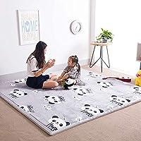 MAXYOYO Memory Foam Coral Velvet Carpet Tatami Mat Large Rug for Living Room, Grey Panda Japanese Tatami Floor Mat, Ultra Soft Kid Crawling Mat Thickness:2CM, 71 by 79 inch