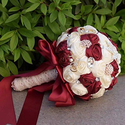 (Bouquet, Amoleya 7.8 Inch Wedding Bouquets Bride Holding Bouquet Roses with Rhinestones,Burgundy+Ivory )