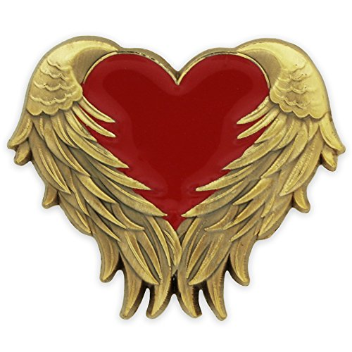 PinMart Red Heart with Antique Gold Angel Wings Enamel Lapel Pin