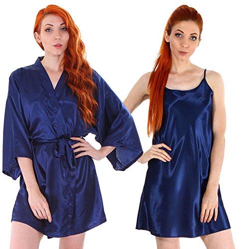 Simplicity 2 Piece Silky Robe Sleepwear & Nightgown Pajama Set,Dark Blue,L/XL