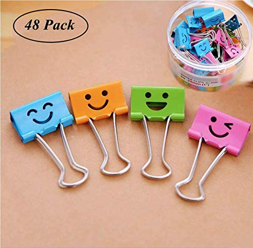 48 Large Set Emoji Shaped Cute Lovely Face Binder Assorted Color Paper Clip Metal Fold Back Clamp for School Supplies Multi Purpose Color Photo Holder File Document Organizer Office Cubicle Desk Home