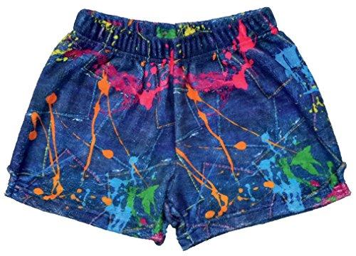 - iscream Big Girls Silky Soft Print Plush Shorts - Color War, Medium