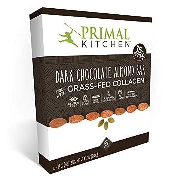 Primal Kitchen   Dark Chocolate Almond Collagen Protein Bars, 12 Grams Of  Protein, Paleo