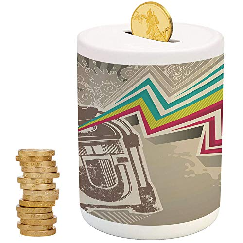 iPrint Jukebox,Kids Boys and Girls Money Bank,Christmas Birthday Gifts for Kids Boys Girls Home Decoration,Antique Vintage Retro Radio Party with Colorful Zig Zag Design Image