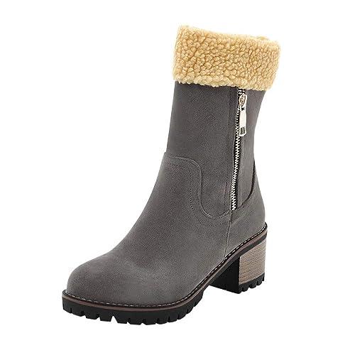 Manadlian Botas Mujer Invierno Tacon Forrado Calentar Botas Altas Botines Moda Casual Outdoor Zapatos de Nieve Snow Boots: Amazon.es: Zapatos y complementos