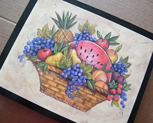 - Fruit Apple Strawberry Cherry Grape Wooden Country Kitchen Decor 9x11'', Wood Sign