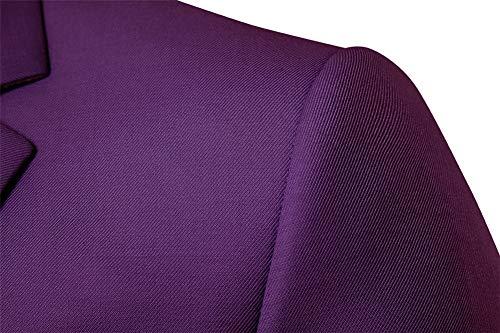 Bouton Jacket Costume Violet Fit Slim Elegant Blazer Veste Manteau Casual Homme Un qqY70zFn