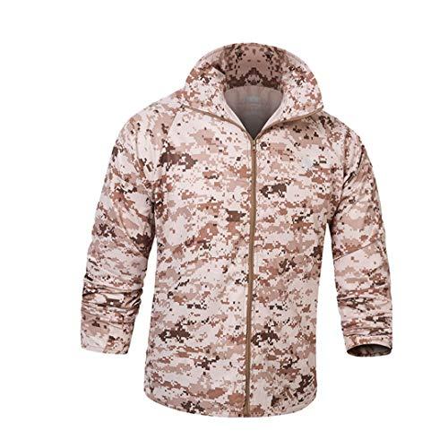 - FieldShuFu Army Tactical Camouflage Skin Jacket Men Thin Waterproof Raincoat Windbreaker Breathable Hood Military Clothes Desert Camo S