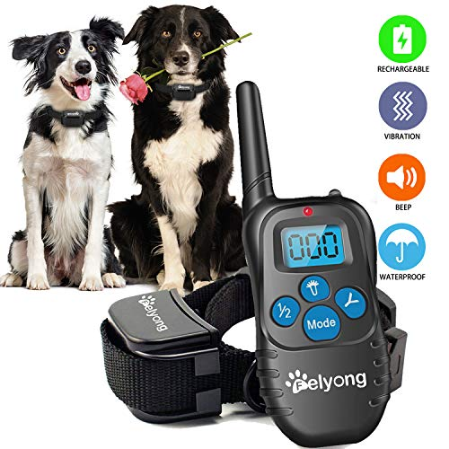 Felyong Dog Training Collar with Remote, Rechargeable Waterproof Dog Shock Collar with Beep Vibration Safety Shock Harmless Training Collars for Small Medium Large Dogs, 1000 Ft Range