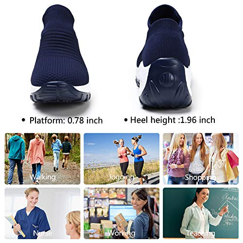 HKR Womens Platform Walking Shoes Comfortable Slip Resistant Lightweight Sneakers Shoes Navy Blue 8.5(ZJW1839shenlan40.5)