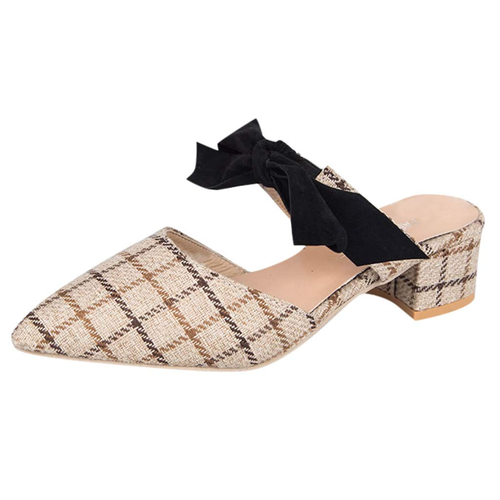 Women Mid Heel Mules Women Plaid Printed Pointed Toe Bowknot Chunky Heel Hemp Mules Slides Sandals Emerayo