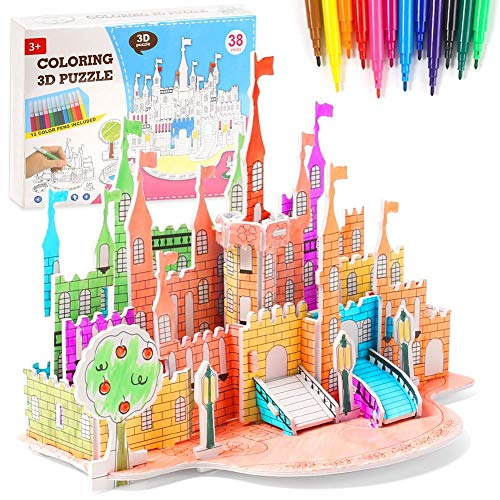 COLOR & PUT TOGETHER A JIGSAW CASTLE