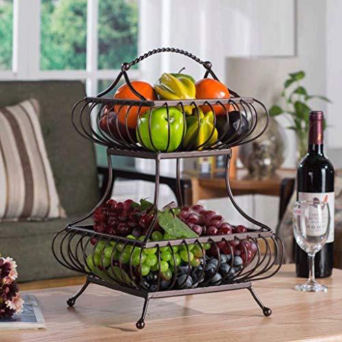 SLH Dos capas de cesta de fruta Estante de almacenamiento de cocina Sala de estar Fruta olla Estante de hierro Plato de...