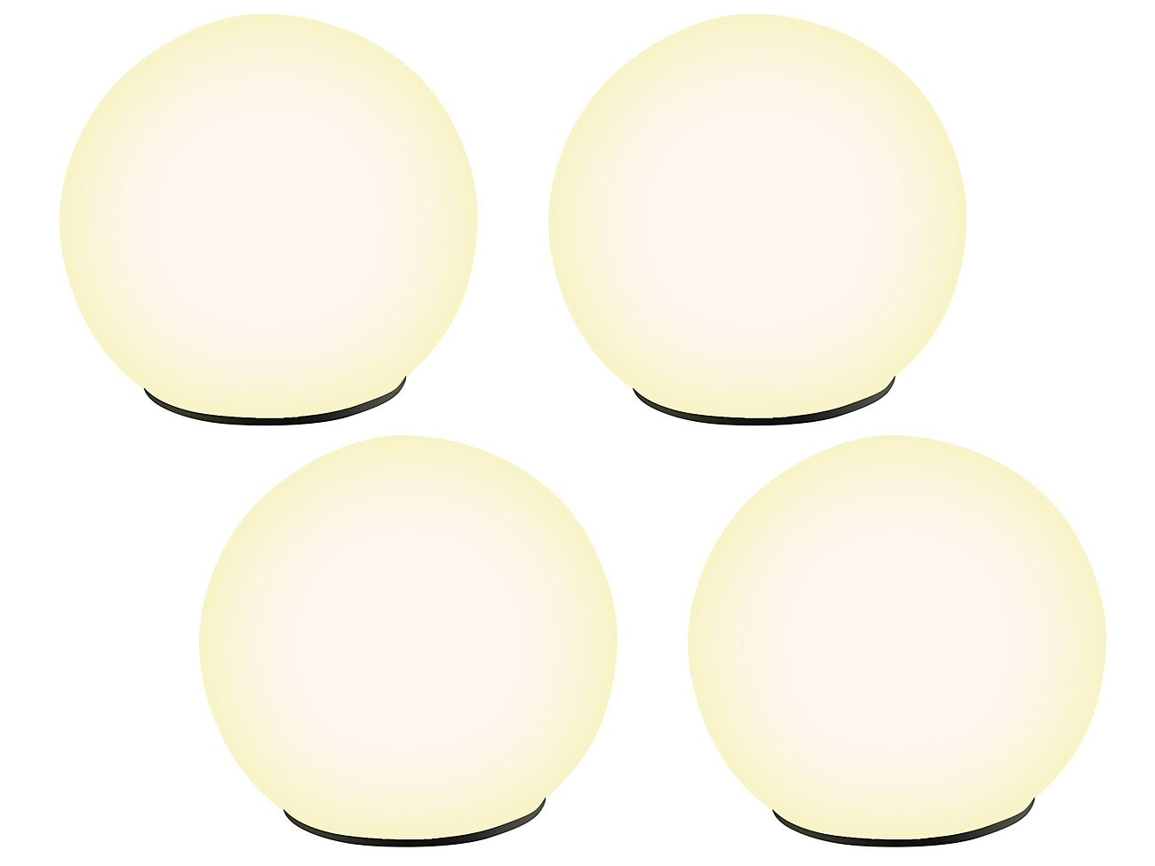 Lunartec Solarkugeln: Solar-Glas-Leuchtkugel warmweiß mit Dämmerungsschalter 4er-Set (Solar Kugelleuchte)