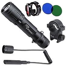 LiteXpress LXL004001 X-Fire 1 aluminium flashlight - Cree LED up to 250 Lumens including cable switch, picatinny rail mount, flip-cap lens holder, detachable RGB lenses