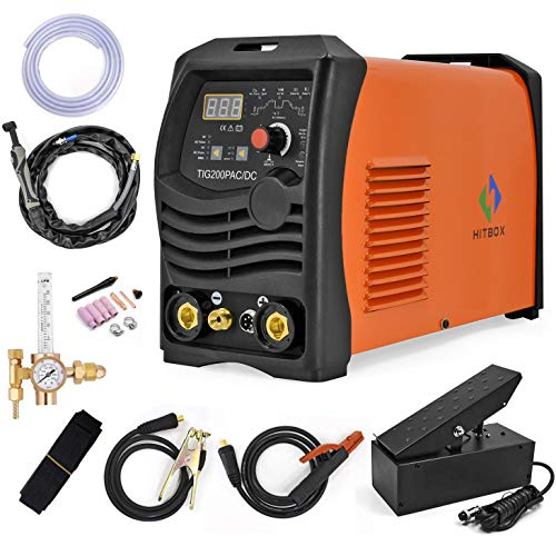HITBOX TIG Welder AC/DC 200A Pulse TIG Stick 4 in 1 Multifunction High Frequency Iron Aluminum TIG Welding Machine