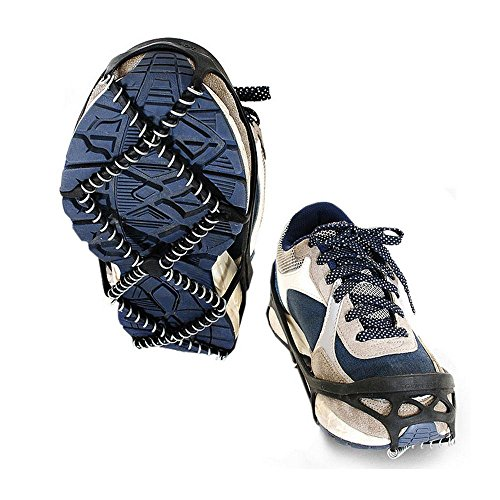 Pawaca 1 Pair Universal Size Walk Traction Cleats for Walking on Snow and Ice, Anti-Slip Ice Grips Traction Cleats Grippers Spikes Crampons for Walking, Jogging, Hiking on Ice Slippy Ground