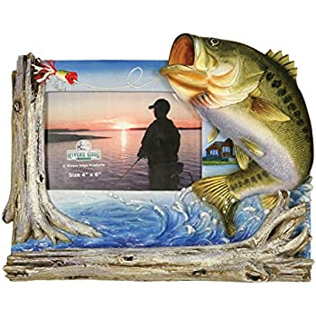 """Rivers Edge Bass Fishing Picture Frame - Holds 4"""" X 6"""" photo"""