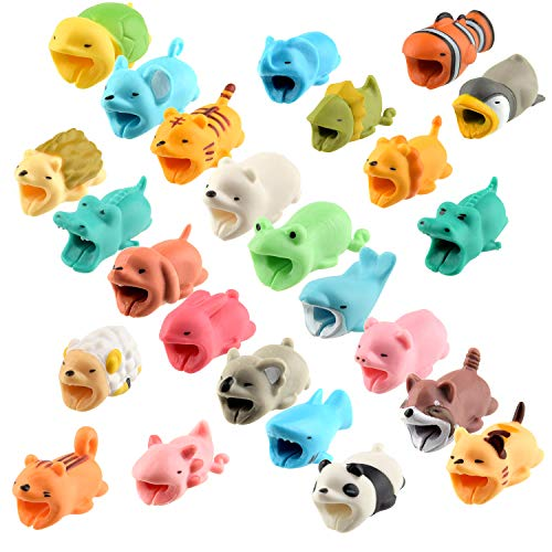TUPARKA 25 PCS Animal Cable Protector Cute Animal Bites, Charger Cord Saver USB Charging Cable Protector Works with Most Cell Phone Charging Cable