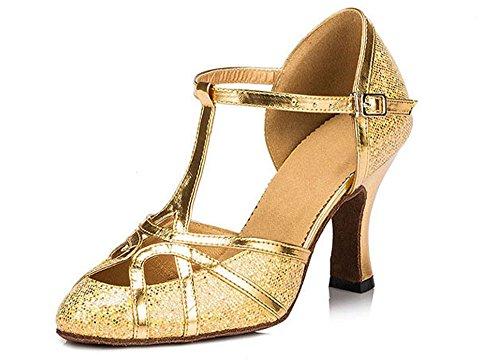 De Paillettes Honeystore Ferm Bout strap T Talon Latine Danse Tango Pompe Salsa Chaussures Dor Mariage Moyen qx0Ca
