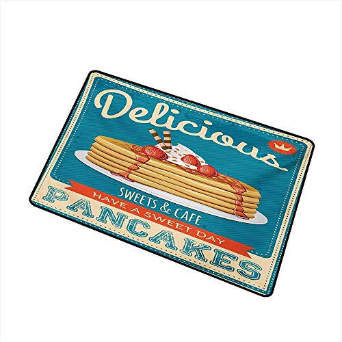 BeckyWCarr Vintage Welcome Door mat Delicious Pancakes with Cream and Jam Eighties Diner Flyer Design Door mat is odorless and Durable W15.7 x L23.6 Inch,Cream Pale Brown and Blue