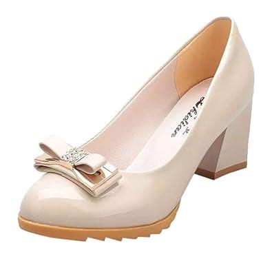 78f5a8353d7dc1 MObast Chaussure Femme Escarpin Surface en Cuir Massif Bow Bout Rond  Glisser sur Talon Carré 5~8Cm Couvre Talon Confortable Et Respirant Mode De  Vie ...