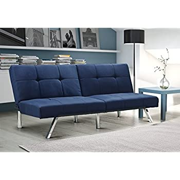 layton futon sofa bed sectional convertible couch in premium linen available in navy and tan with slanted chrome legs futon navy
