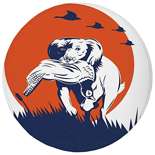 Round Rug Mat Carpet,Hunting Decor,Cocker Spaniel Gun Dog Retrieving Pheasant Flying Ducks at Sunset,Dark Blue Orange White,Flannel Microfiber Non-slip Soft Absorbent,for Kitchen Floor Bathroom (Best Gun For Pheasant Hunting)