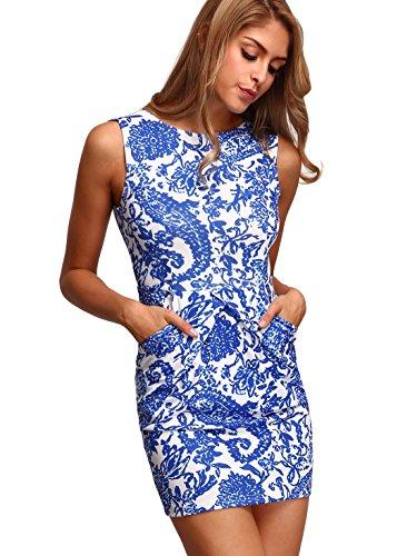 Floerns Womens' Pocket Sleeveless Tribal Print Bodycon Dress Blue S