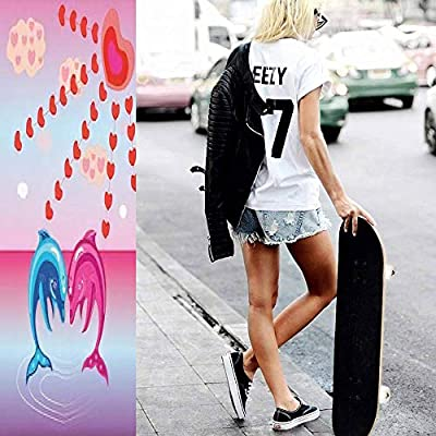 Classic Concave Skateboard Two Dolphin Lovers Longboard Maple Deck Extreme Sports and Outdoors Double Kick Trick for Beginners and Professionals : Sports & Outdoors