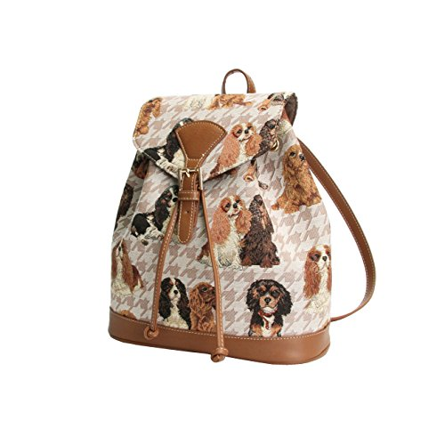 Signare Womens Tapestry Small Rucksack Backpack in Cavalier King Charles (Cavalier Tapestry)