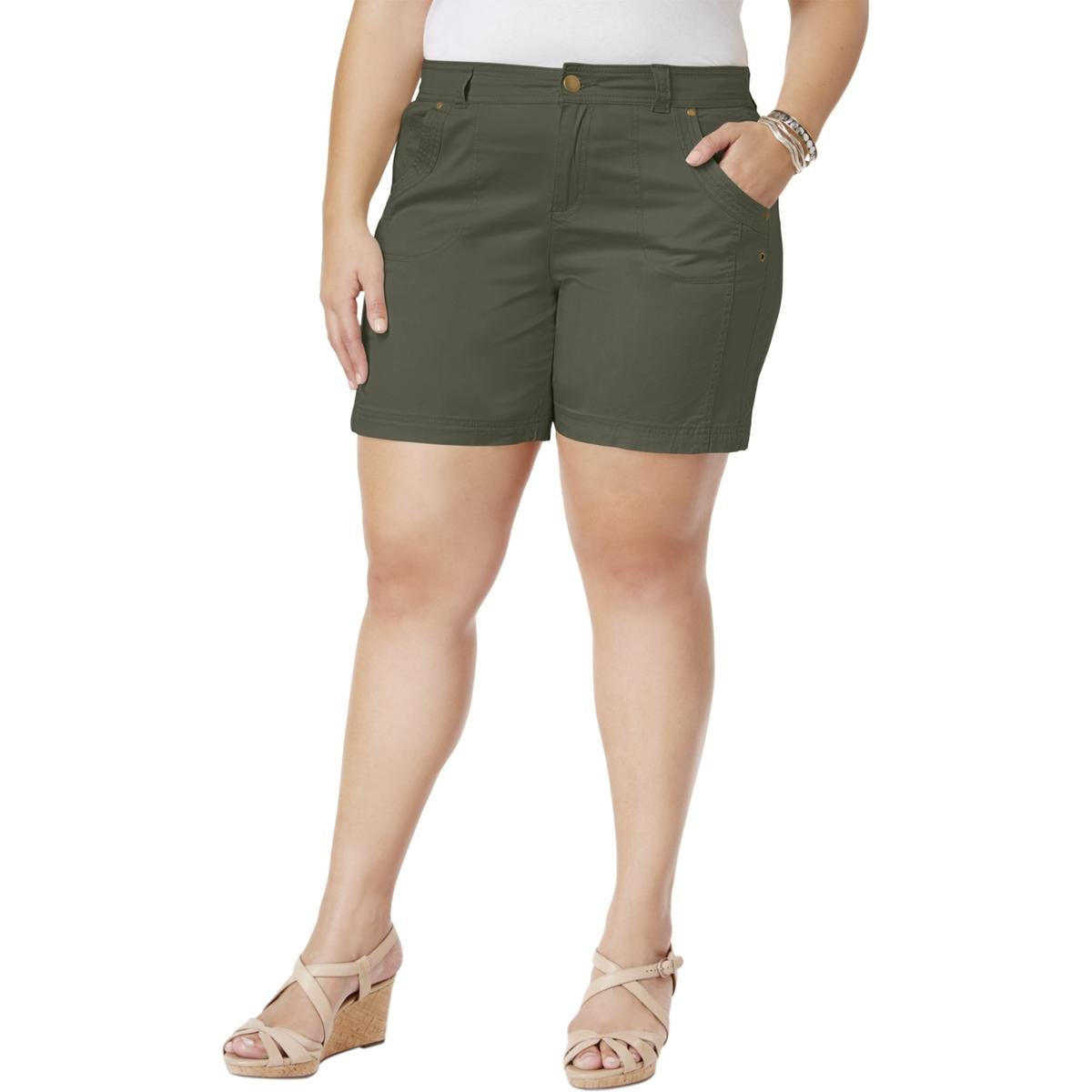 Style & Co. Womens Plus Mid-Rise Solid Casual Shorts Green 18W