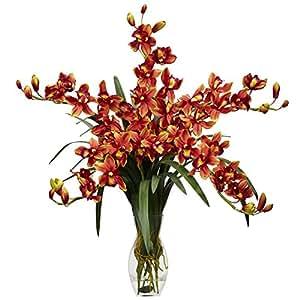 SKB Family Cymbidium Orchid Silk Flower Arrangement Natural Burgundy Flower Home Decor