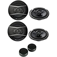 Pioneer TS-A1676R 320W 6-1/2 3-Way TSA Series Coaxial Car Speakers (2 PAIRS) + Absolute TW-800 800 watts Super Dome Tweeters with 4 Mounting Options