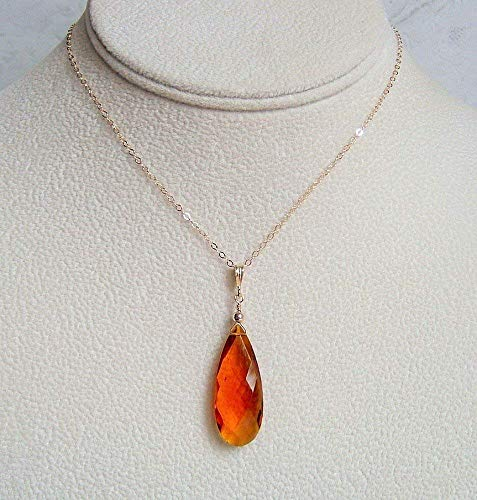 Gorgeous Large Simulated Imperial Topaz Pear Briolette Quartz Gold Filled 18 Inch Necklace Gift Idea