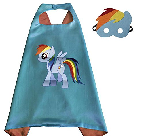 My Little Pony Rainbow Dash Cape and Mask Costume Set for Girls Age 2-10 Dress Up Birthday Party Halloween (Rainbow Dash) -