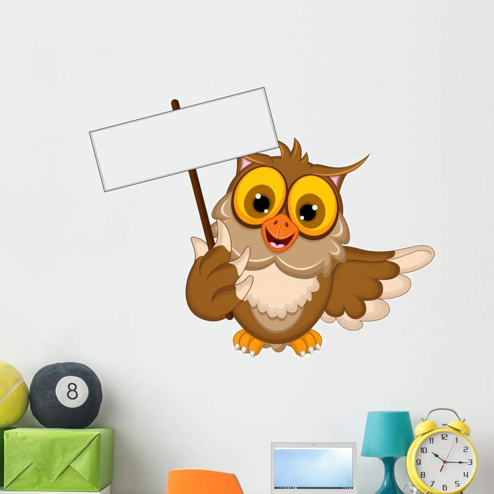 Wallmonkeys Cute Owl Cartoon Holding Wall Decal Peel and Stick Animal Graphics (48 in W x 38 in H) WM497269