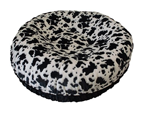 BESSIE AND BARNIE 60-Inch Bagel Bed for Pets, X-Large, Black Puma/Spotted Pony by BESSIE AND BARNIE