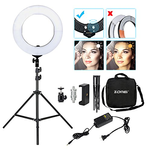 Ring Camera Light Youtube: Zomei 14-inch Dimmable LED Ring Light Kit With Stand