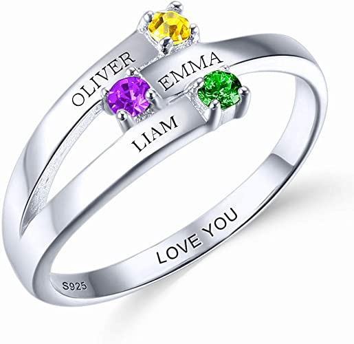 Personalized Name Ring with Birthstones for Mothers Day Customized 925 Sterling Silver Name Engagement Statement Band Heart Rings for Women//Wife//Girls//Girlfriend//