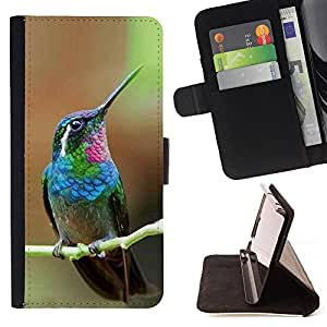 Hummingbird Tiny Cute Tropical Exotic - Painting Art Smile Face Style Design PU Leather Flip Stand Case Cover FOR HTC Desire 820 @ The Smurfs
