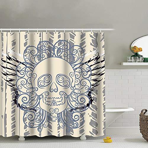 best bags Dead Wing Skull Graffiti Art Polyester Fabric Shower Curtain Bathroom Curtain Hook 72X72 Inch]()